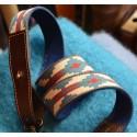 Anse 3,5 cm - Tissu VERDE & ROJA Pampa _Cuir Marron