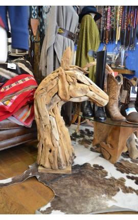 Grande Tête de cheval en bois
